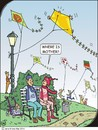 Cartoon: Mother in law 2 (small) by JotKa tagged mother,in,law,son,frustration,anger,revenge,sneaky,false,paternalism,smart,aleck,man,woman,husband,wife,park,bench,kite,flying,kites,trip,lantern,bank