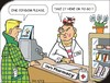 Cartoon: Sales pitch (small) by JotKa tagged pharmancy,changing,jobs,women,men,habits,customers,routine,discretion