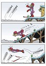 Cartoon: Skispringer (small) by JotKa tagged sport,wintersport,meisterschaften,olympiaden,ski,skilaufen,skifahren,skispringen,skischanze,schanzen,natur,winter,schnee,sportler,männer