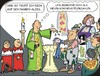 Cartoon: Willkommen (small) by JotKa tagged kirche,taufe,taufkleid,paten,pate,patin,eltern,kinder,bruder,schwester,messdiener,taufbecken,traditionen,religion,bibel,tracht,trachtenmode,dirndl,lederhose,haferlschuh,pfarrer,pastor,steuern,spenden,politiker,kirchensteuer,agbagen,ablass,rituale,zeremoni