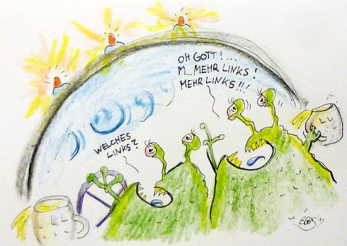 Cartoon: Welches Links? (medium) by Eggs Gildo tagged alien,fahrschule,raumschiff,mann,frau,links,rechts