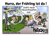 Cartoon: Hurra! Der Frühling ist da. (small) by karicartoons tagged allergie,allergiker,birke,blütenpollen,cartoon,frühling,pollen,pollenallergie