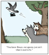 Cartoon: Small Dogs (small) by Humoresque tagged dog,dogs,species,breed,breeds,breeder,breeders,big,small,size,sizes,toy,toys,terrier,terriers,bird,of,prey,food,chain,pet,pets,show,shows,pride,wolf,wolves,canine,canines,predator,predators,hunt,hunting,hunter,hunters,embarrassed