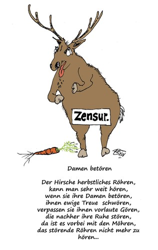 Cartoon: Damen betören (medium) by Marbez tagged damen,reproduktion,herbstlust