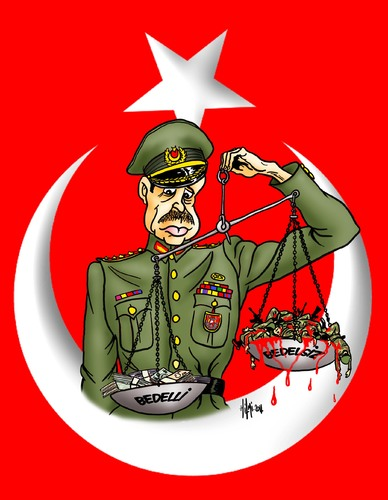 Cartoon: Recep Tayyip Erdogan Soldiers an (medium) by Hilmi Simsek tagged soldiers,and,money,recep,tayyip,erdogan,turkey,flag,general