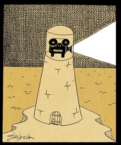 Cartoon: ighthouse of reality (medium) by gunberk tagged reality,sea,lighthouse