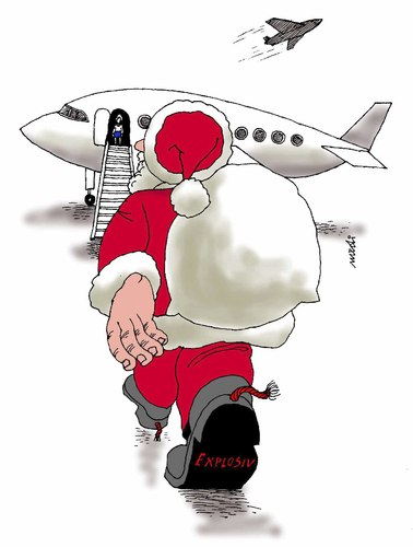 Cartoon: Christmas santa dangerous (medium) by Medi Belortaja tagged dangerous,santa,christmas,terror,terrorism