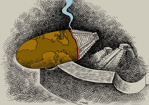 Cartoon: cigarette 2012 (medium) by Medi Belortaja tagged cigarette,2012,earth,apocalypse,maya,calendar