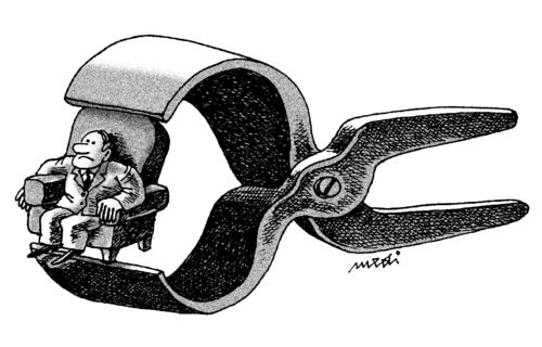 Cartoon: shaking crisis (medium) by Medi Belortaja tagged chair,pincers,power,financial,crisis