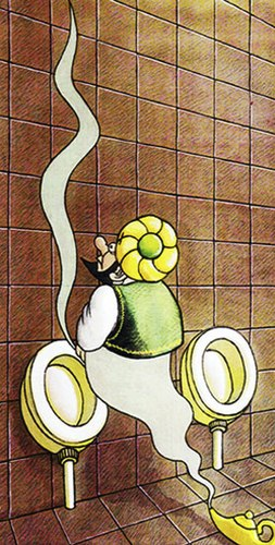 Cartoon: lamp of aladin in toilette (medium) by Medi Belortaja tagged humor,urination,toilet,aladin,lamp