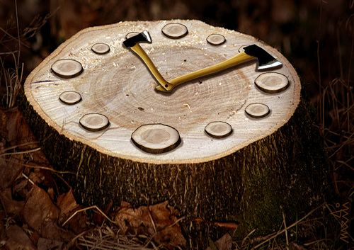 Cartoon: natural clock (medium) by Medi Belortaja tagged ecology,environment,forest,axes,ax,trees,cut,tree,timber,skid,clock,natural