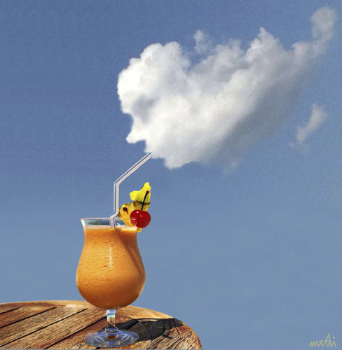 Cartoon: summer time (medium) by Medi Belortaja tagged summer,time,juice,fuits,clouds,skydrink