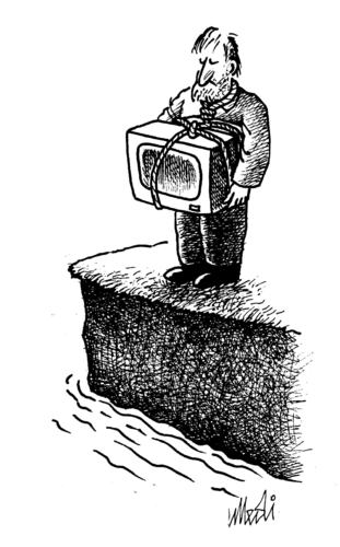 Cartoon: The despairing of TV (medium) by Medi Belortaja tagged media,suicide,news,bad,tv,despairing