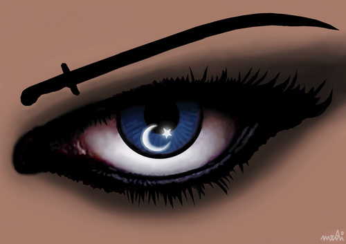 Cartoon: turkish eye (medium) by Medi Belortaja tagged turkish,turkey,eye,woman,flag