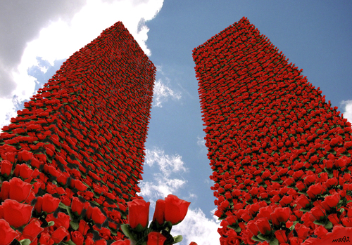 Cartoon: Twin Flowers (medium) by Medi Belortaja tagged september,11,terrorism,terror,remembrance,esteem,poppy,buildings,flowers,towers,twin,anniversary