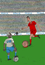 Cartoon: Bashar footballer (small) by Medi Belortaja tagged bashar,al,assad,conflict,footballer,soccer,annan,un,peace,war,euro,2012,ukraine