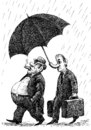 Cartoon: boss and servant (small) by Medi Belortaja tagged boss,servant,rich,poor,poverty,umbrella,rain,nose,capitalism