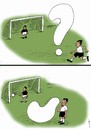 Cartoon: goal (small) by Medi Belortaja tagged goal soccer football fotballer mark question