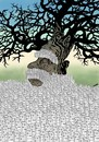Cartoon: old tree (small) by Medi Belortaja tagged old tree forest buildings city tower flats environment ecological destruction