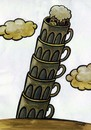 Cartoon: pisa beers (small) by Medi Belortaja tagged pisa,beer,beers,alcohol,glasses,cup,tower