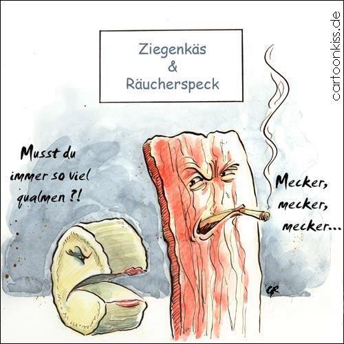 Cartoon: Mecker (medium) by Riemann tagged käse,speck,essen,beziehung,rauchen,
