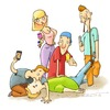 Cartoon: first aid (small) by sfepa tagged phone,aid,beholder,photo,accident