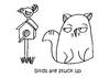 Cartoon: One Cats Thoughts (small) by DebsLeigh tagged cat,kitty,feline,thoughts,birds,cute