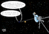 Cartoon: Voyager (small) by A Tale tagged voyager,raumsonde,weltall,start,1977,mission,40,jahre,forschung,daten,senden,erde,fotos,planeten,grenze,sonnensystem,heliopause,reise,unendlichkeit,loswerden,auf,den,mond,schießen,technik,karikatur,illustration,cartoon,tale,agostino,natale