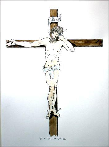 Cartoon: Arcor-Christus (medium) by Rainer Schade tagged handy,mobile,company,anbieter,provider
