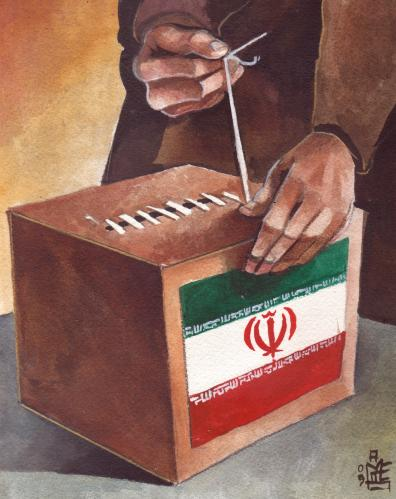 Cartoon: Iran ...closing of the urns (medium) by matteo bertelli tagged iran,elections,ahmadinedschad,iran,wahl,wahlen,manipulation,mussawi,mullah,stimmen,urne,aufstand,protest,proteste,bürger