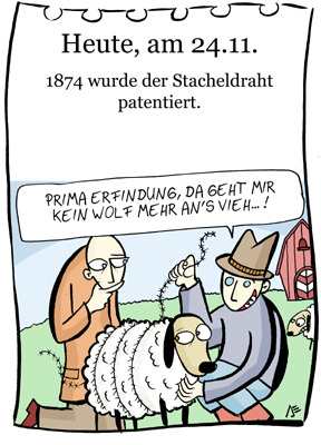 Cartoon: 24. November (medium) by chronicartoons tagged stacheldraht,schaf,viehzucht,cartoon