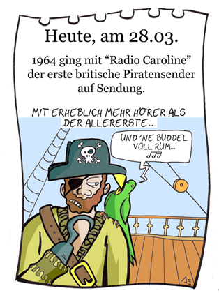 Cartoon: 28. März (medium) by chronicartoons tagged radoio,caroline,piratensender,pirat,papagei,seeräuber,schiff,chronicartoon