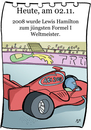 Cartoon: 2. November (small) by chronicartoons tagged formel1,lewis,hamilton,rennwagen,bolide,cartoon