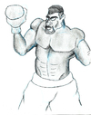 Cartoon: Angry Boxer (small) by Abe tagged boxer,boxing,musceles,angry,ring,white,black,eyes,upset,mad,beat,the,crap