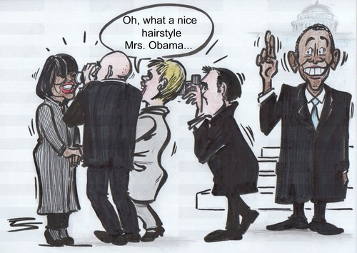 Cartoon: What a nice hairstyle! (medium) by Peter Schnitzler tagged obama,präsident,hairstyle