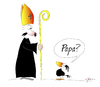 Cartoon: Papa? (small) by KADO tagged draw,zeichnen,art,kunst,styria,graz,steiermark,austria,illustration,cartoon,spass,humor,comic,kalcher,dominika,kadocartoons,kado,vogel,bird,animal,crow,krähe,papa,daddy,verwandtschaft,relatives,priester,priest,kirche,church