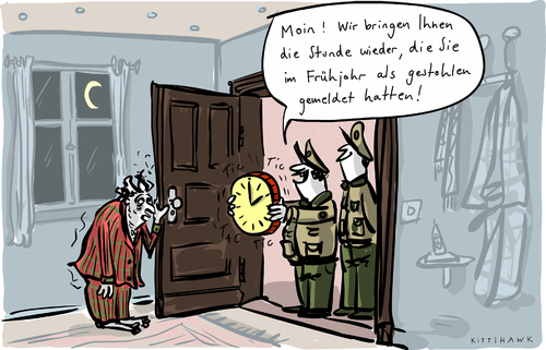 Cartoon: Stunde gestohlen (medium) by kittihawk tagged zeitumstellung,winterzeit,kittihawk,2015,zeitumstellung,winterzeit,kittihawk,2015