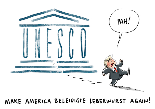 Cartoon: Unesco USA Trump (medium) by Schwarwel tagged trump,donald,us,usa,amerika,president,präsident,make,america,great,again,unesco,politik,politiker,un,vereinte,nationen,antiisraelisch,karikatur,schwarwel,trump,donald,us,usa,amerika,president,präsident,make,america,great,again,unesco,politik,politiker,un,vereinte,nationen,antiisraelisch,karikatur,schwarwel