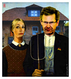 Cartoon: german gothic (small) by edda von sinnen tagged american gothic zenundsenf zensenf zenf andi walter grant wood bundespräsident german wulff bettina christian kredit politik korruption eigenheim mistgabel mist edda von sinnen