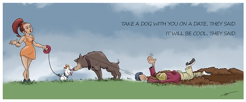 Cartoon: Rendezvous and the dog (medium) by tinotoons tagged dog,rendezvous,love,relationship,tino