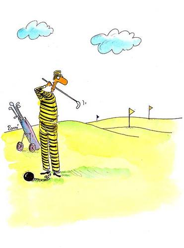 Cartoon: - (medium) by romi tagged prisoner,golf,ball,flag