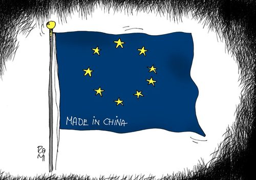 Cartoon: flag EU (medium) by romi tagged flag,eu,china