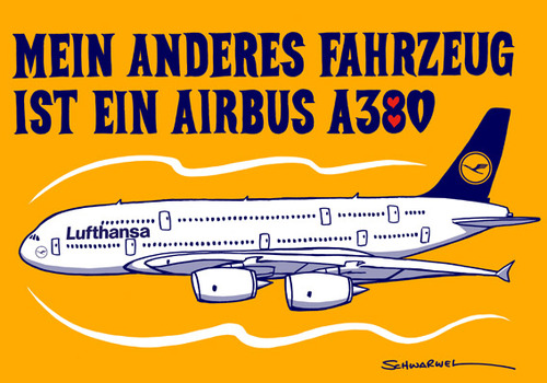 Cartoon: Airbus A380 Contest (medium) by toonpool com tagged airbus380,airbus,lufthansa,plane,flugzeug,contest