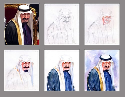 Cartoon: Portrait stages (medium) by Abdul Salim tagged portrait,stages,watercolor,king,abdulla,art,saudi,arabia