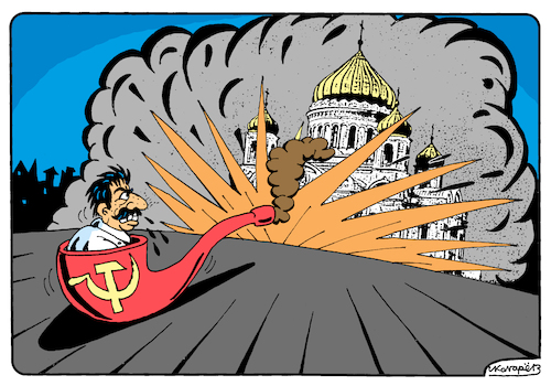Cartoon: Stalin and Cathedral of Christ (medium) by Igor Kolgarev tagged stalin,ussr,communist,atheism,terror,bolshevism,temple,church,christianity,repression