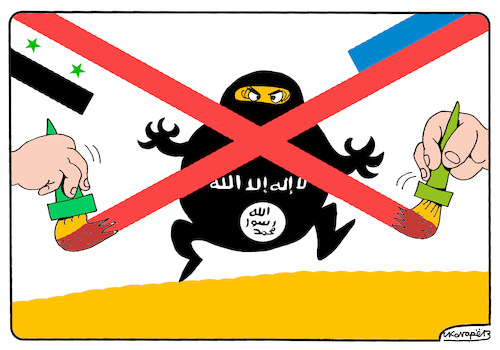 Cartoon: Victory over ISIS in Syria (medium) by Igor Kolgarev tagged russia,isis,syria,terrorists,war,victory,putin,assad,troops,army,flag,syrien,terroristen,krieg,sieg,truppen,die,armee,flagge