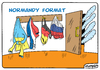 Cartoon: Normandy format (small) by Igor Kolgarev tagged germany,russia,ukrained,france,negotiations,junta,bandera,president,heads,of,state,countries,policyverhandlungen,präsident,staats,ländern,politik