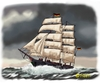 Cartoon: freedom and adventure (small) by Hösti tagged segelschiff,windjammer,maritim