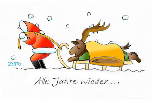 Cartoon: Immer das selbe Lied (medium) by Zotto tagged tradition,feste,familie