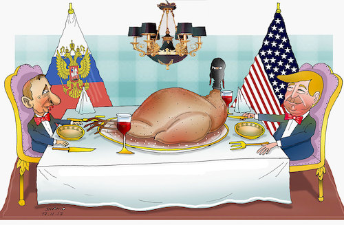 Cartoon: Happy Thanksgiving ! (medium) by Shahid Atiq tagged afghanistan,balkh,helmand,kabul,ghor,nangarhar,attack